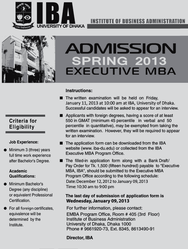 EMBA Spring Admission Notice at IBA of Dhaka University